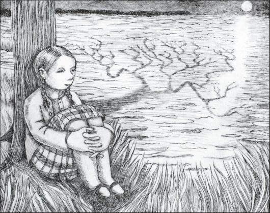 "Lora Shelley, Moon Watcher, etching, 6"" x 8"""