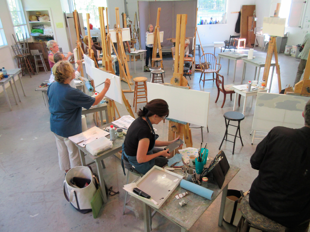artists painting in the studio