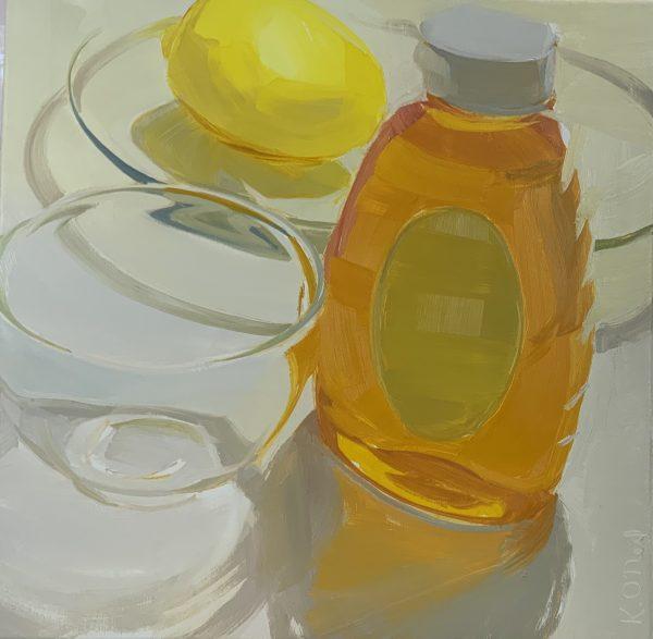 """Karen O'Neil-Honey, Lemon and Glass-21""""x 21""""-oil on linen-Framed"""