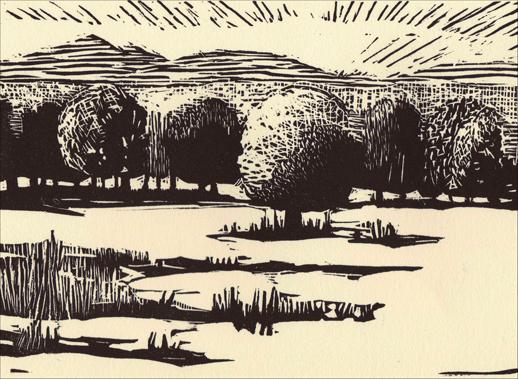 KATE McGLOUGHLIN, APPLE TREE, block print, 5″ x 7″, 2007