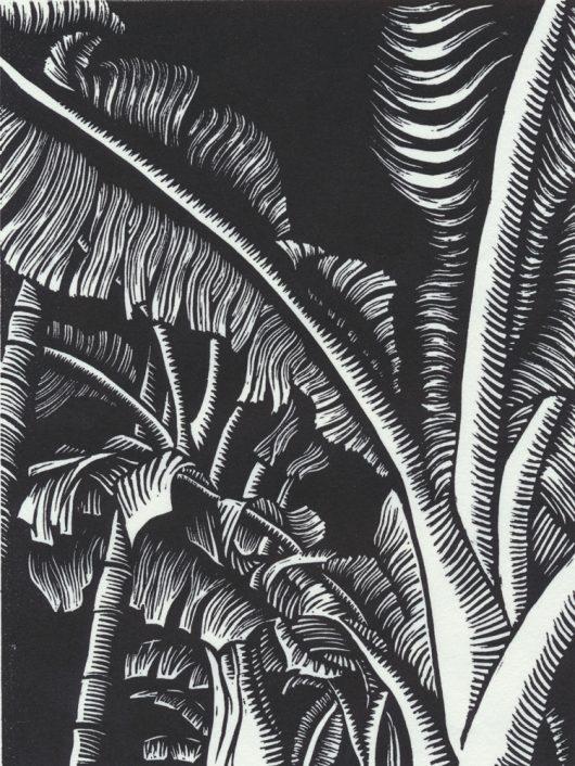 """RENEE ZHANG BANANA TREES etched linoleum block print 8"""" x 6"""", 2019"""