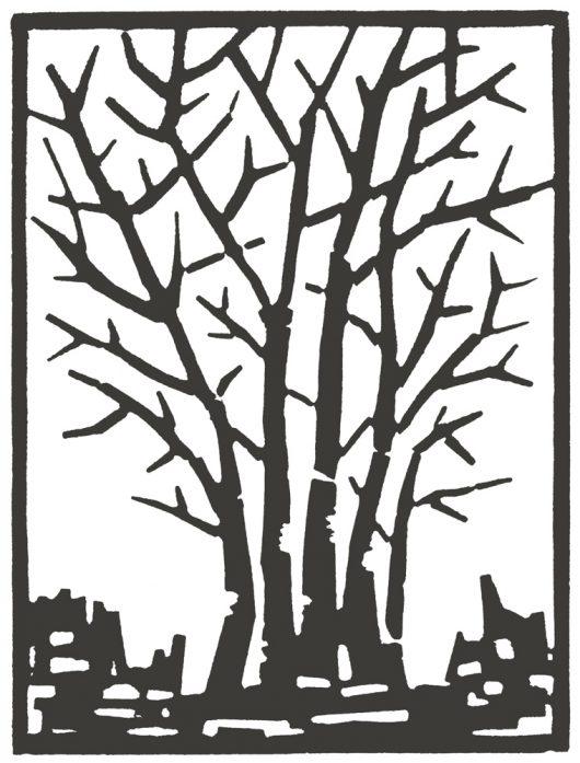 "JOAN FFOLLIOTT QUINCE etched linoleum block print 8"" x 6"", 2020"