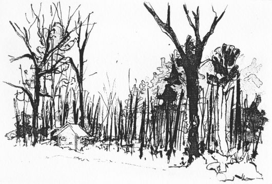 CHRISTOPHER SEUBERT THE CABIN etching 4″ x 6″, 2016